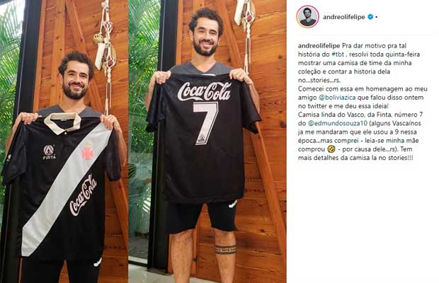 Felipe Andreoli com camisa do Vasco