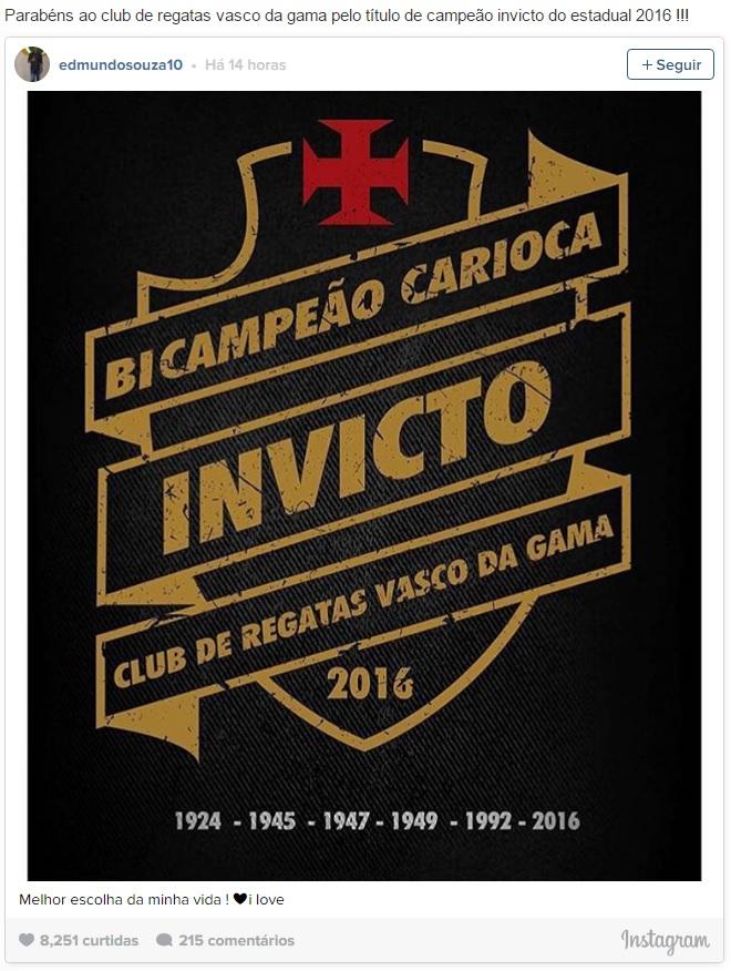 e5d52c05b8 Edmundo já conquistou diversos títulos pelo Vasco da Gama e não esconde o  seu amor pelo Clube que o revelou para o futebol.