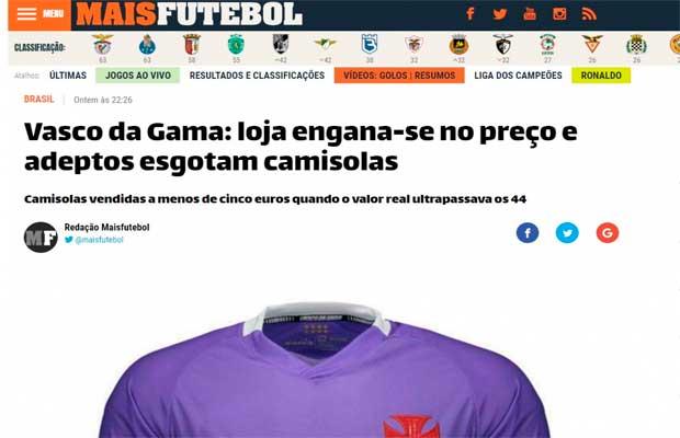 a4d2e5bcac7899 Erro de loja em preço da camisa do Vasco repercute em Portugal ...