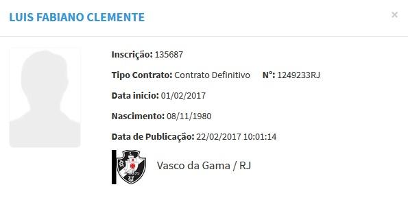 Luís Fabiano segue como jogador do Vasco no BID da CBF - Vasco Notícias 478904a6fd9ac