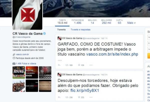 No twitter e no site oficial Vasco protesta contra roubo na final ... 3803d6dd4ef97