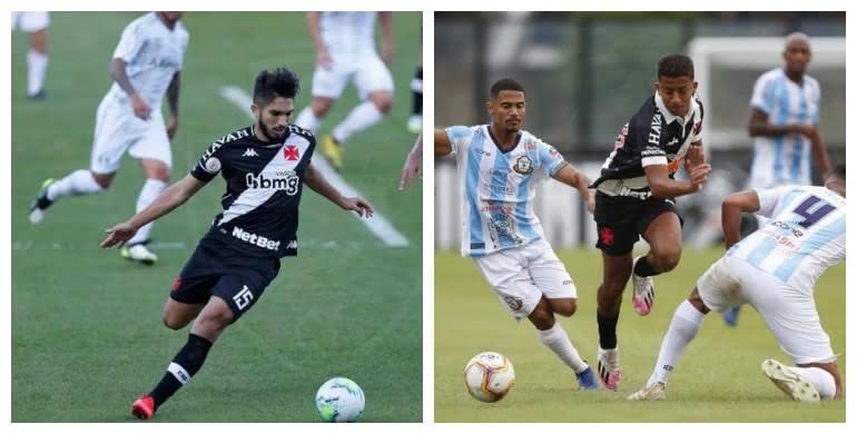 Andrey e Vinícius em partidas pelo Vasco