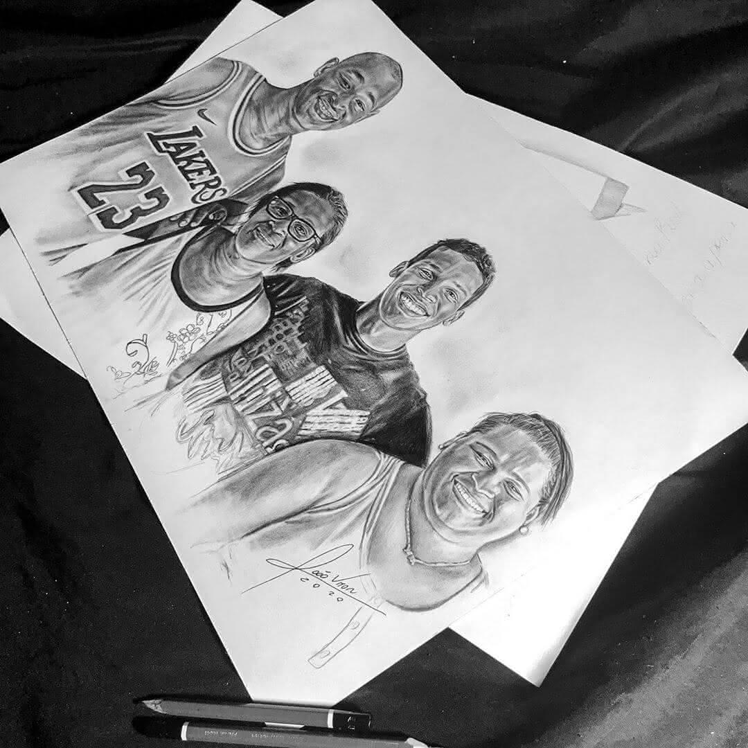 Desenho retratando Lucão e sua família
