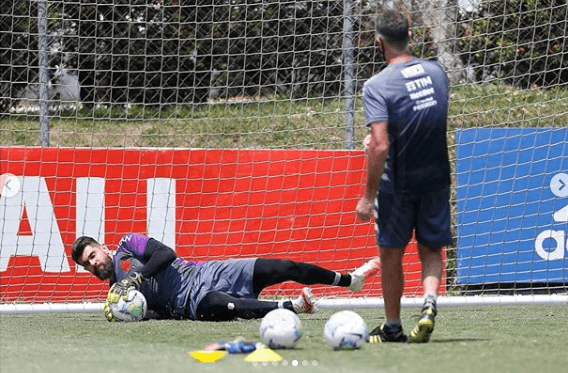 Fernando Miguel e Carlos Germano durante treino do Vasco