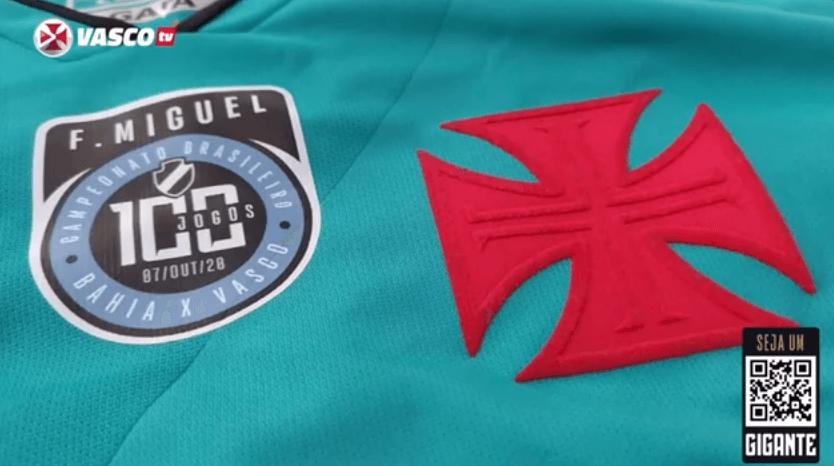 Camisa comemorativa pelos 100 jogos de Fernando Miguel pelo Vasco