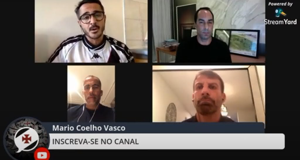 Edmundo, Felipe e Pedrinho sendo entrevistados por Mario Coelho