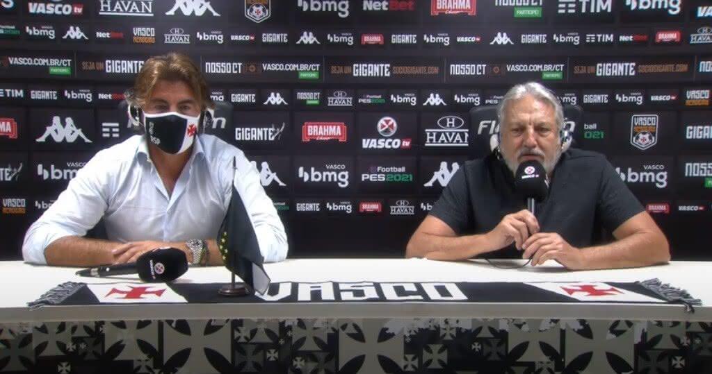 Ricardo Sá Pinto e José Luís Moreira na apresentação do treinador