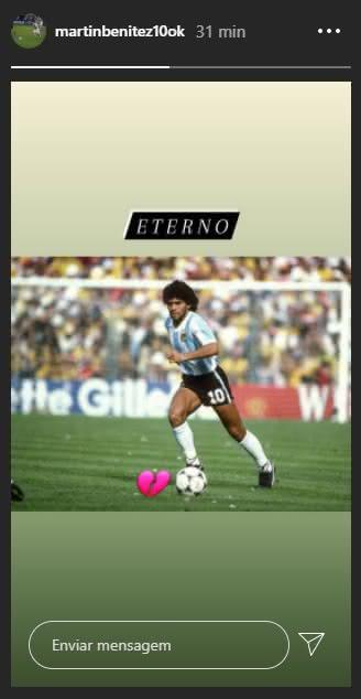 Martín Benítez se manifesta sobre morte de Diego Maradona