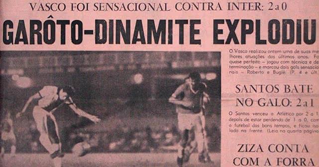Jornal dos Sports destacou 1º gol de Dinamite pelo Vasco