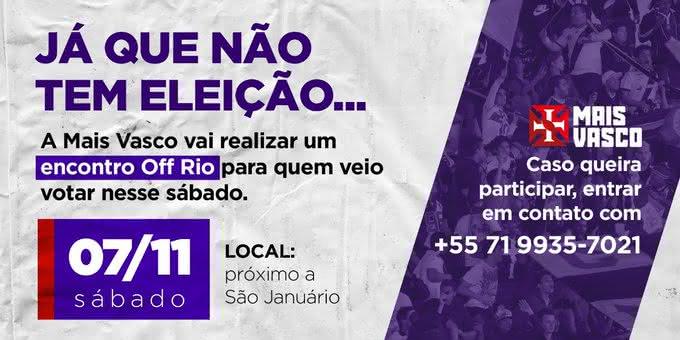 Mais Vasco convida vascaínos para evento no Rio de Janeiro