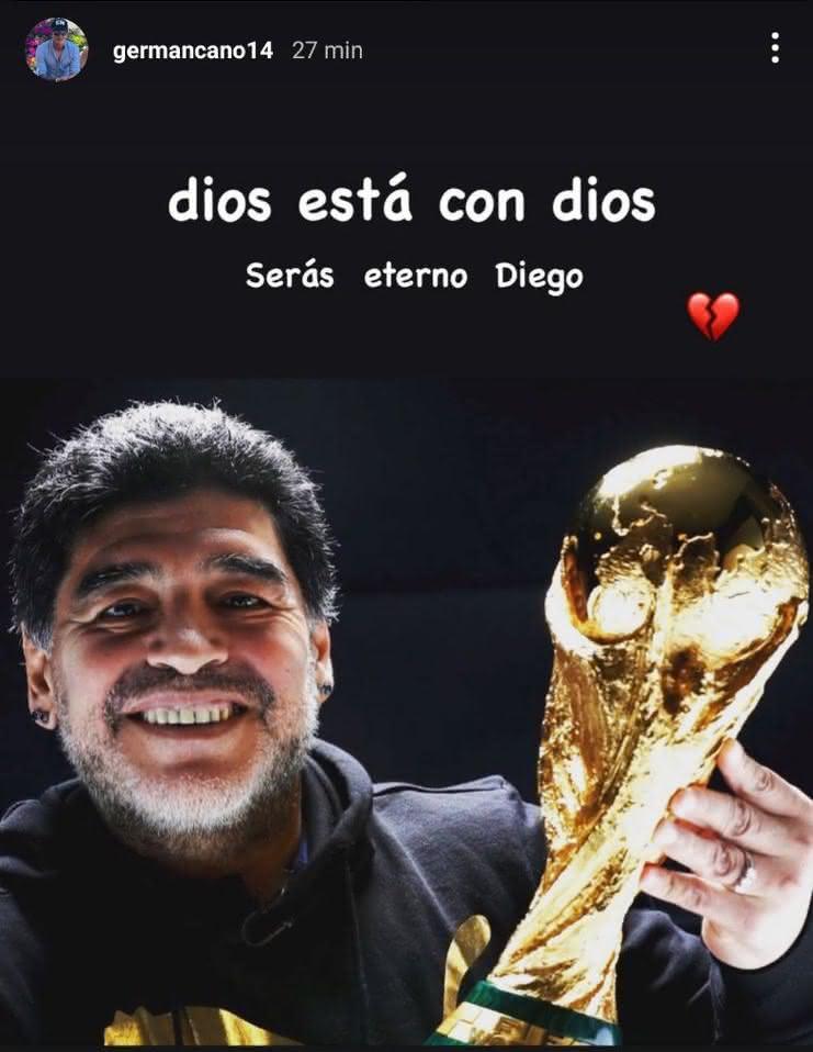 Homenagem de Germán Cano a Maradona no Instagram
