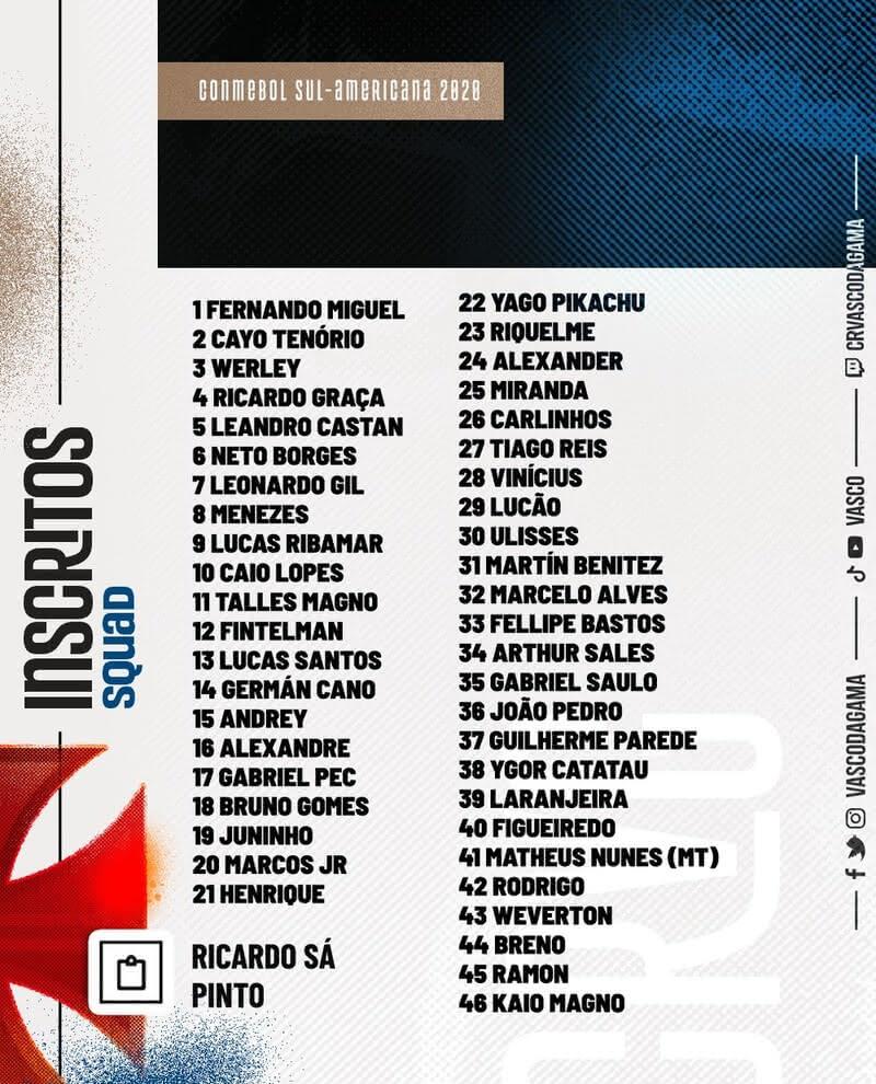 Jogadores do Vasco inscritos na Sul-Americana