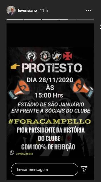 Leven divulga protesto contra Campello