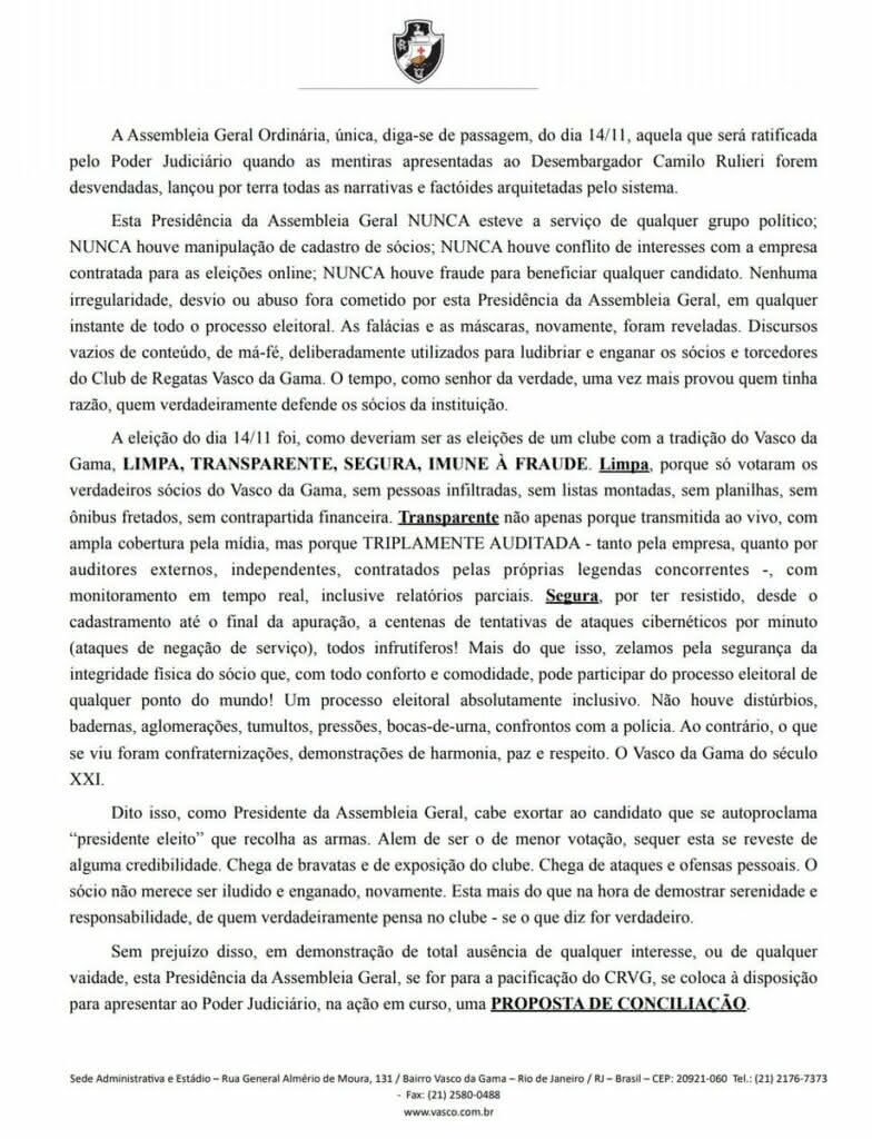 Nota de Faues Mussa sobre Campello e eleição do Vasco