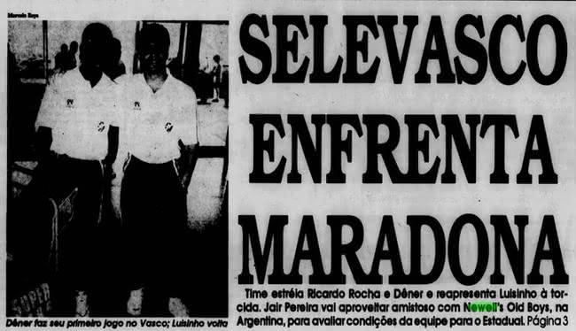 Jornal destaca o amistoso entre o Newell's Old Boys, de Maradona, e o Vasco