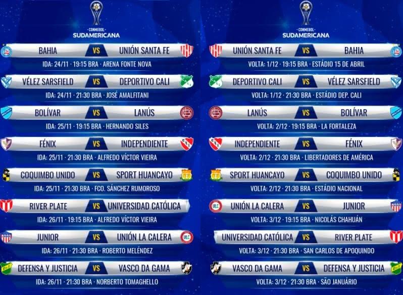 Tabela de jogos das oitavas de final da Sul-Americana