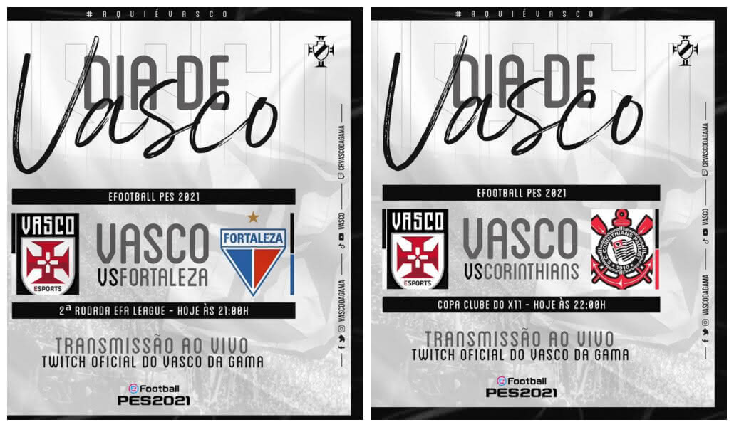 Flyers das partidas do Vasco contra Fortaleza e Corinthians por torneios de E-Sports
