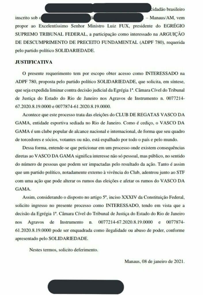 Solicitação de torcedor cruzmaltino ao STF