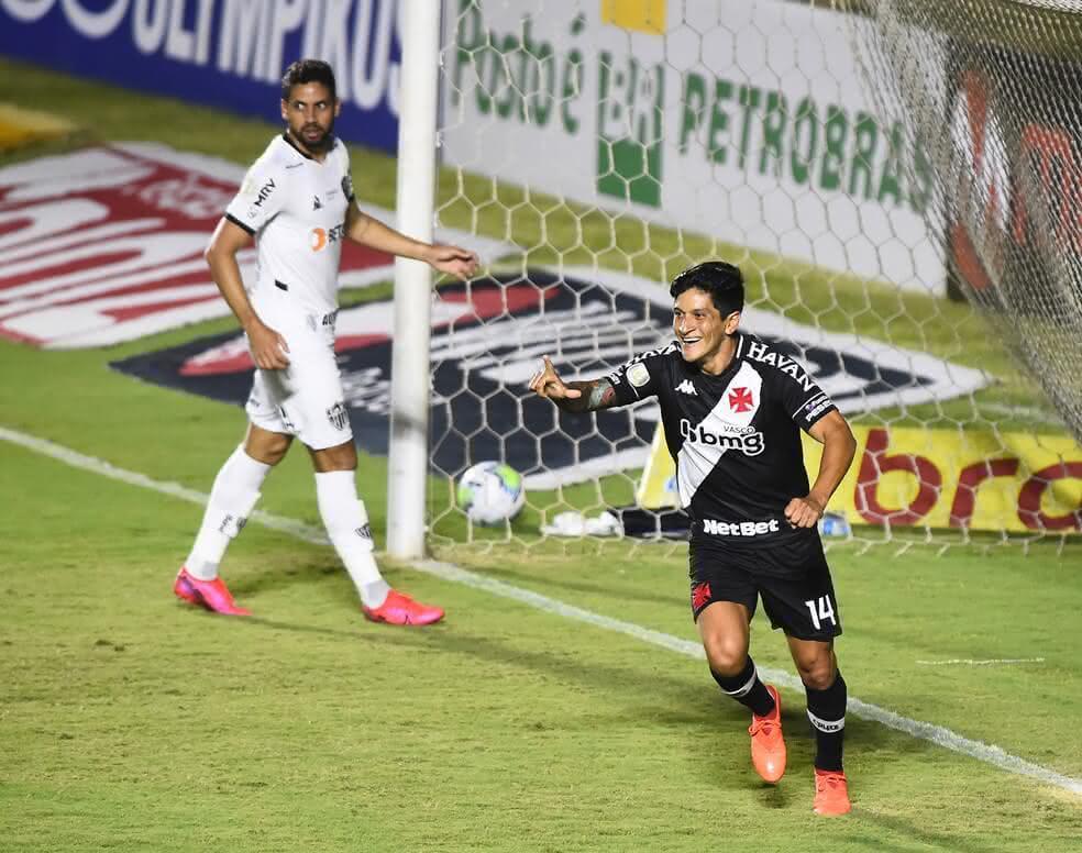 Germán Cano comemorando gol contra o Atlético-MG