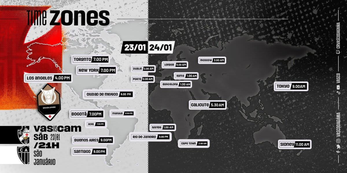 Time Zones de Vasco x Atlético-MG