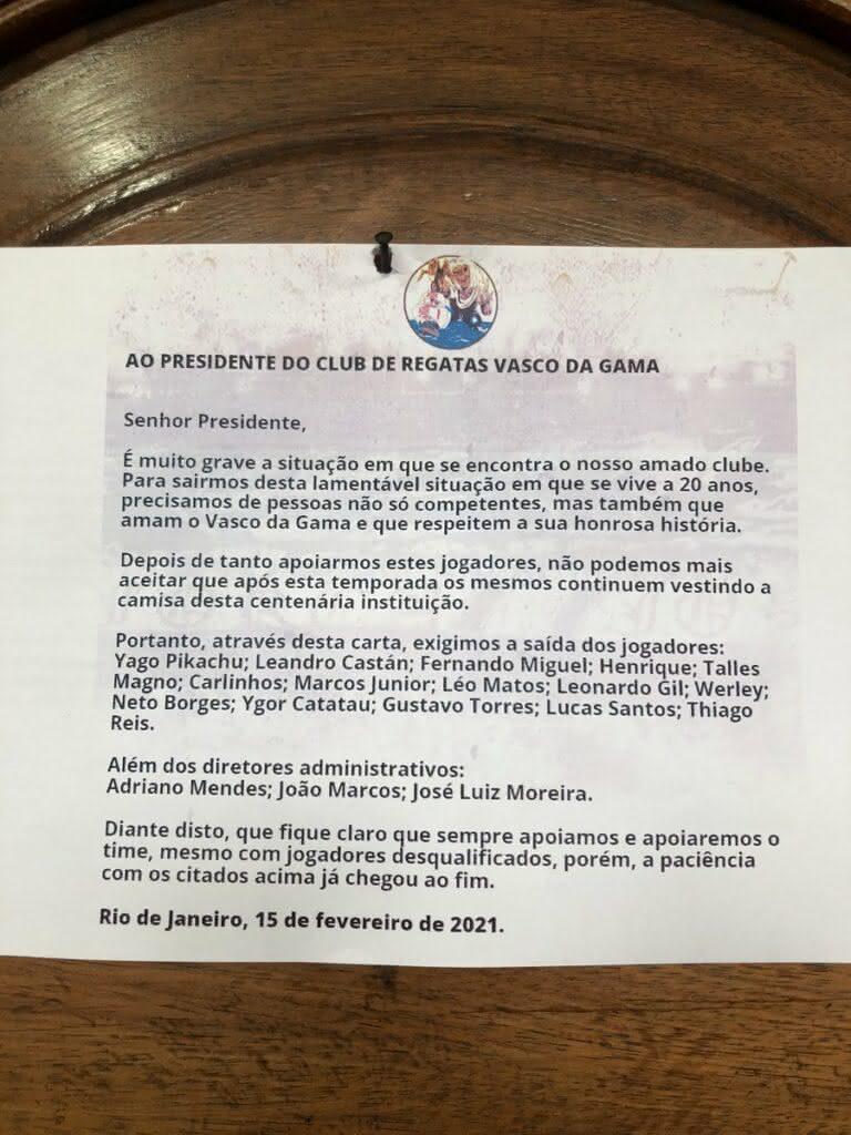Força Jovem envia carta para Jorge Salgado