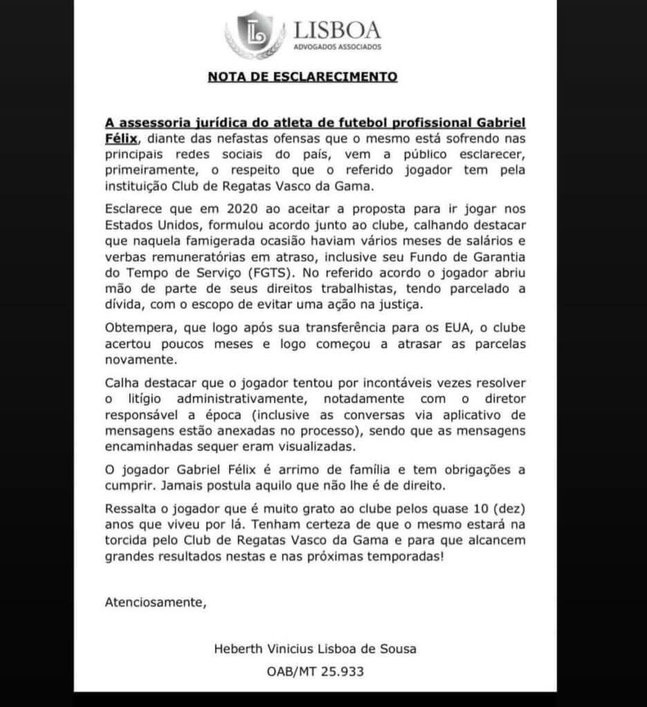 Nota emitida pelo ex-goleiro do Vasco, Gabriel Félix