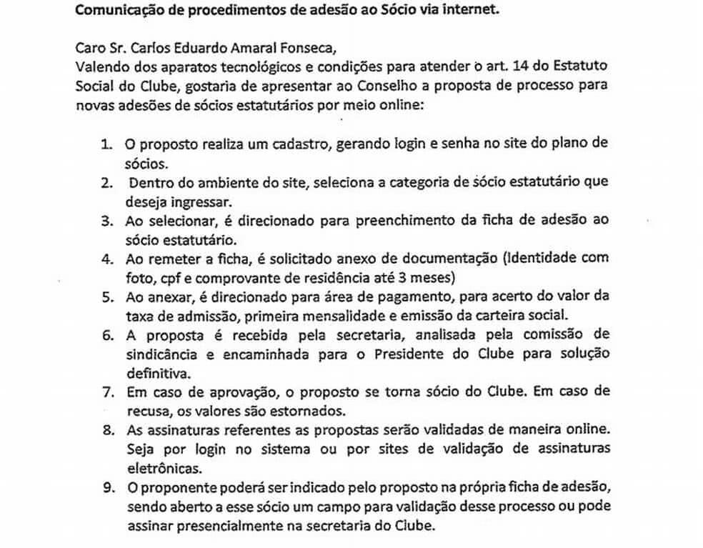 Procedimento para adesão ao Vasco pela internet