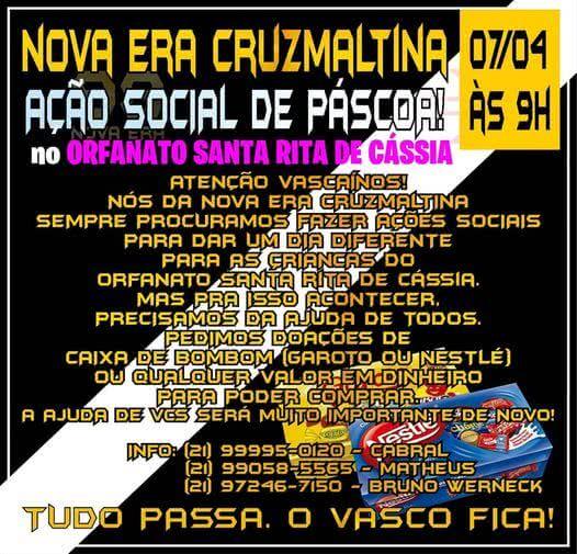 Ação social da torcida Nova Era Cruzmaltina