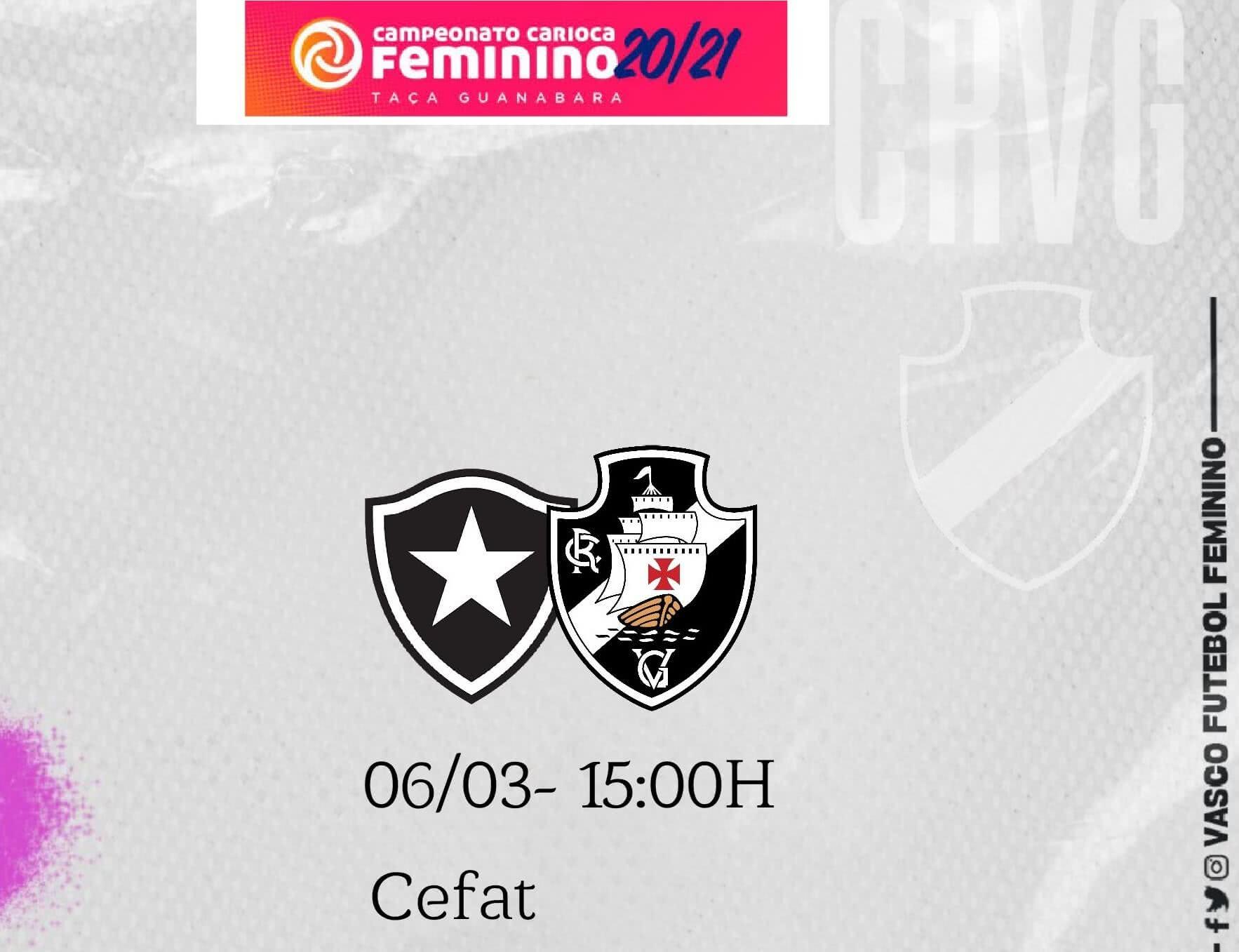 Flyer de divulgação de Botafogo x Vasco pelo Carioca Feminino