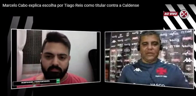 Raphael Fernandes em entrevista coletiva com Marcelo Cabo