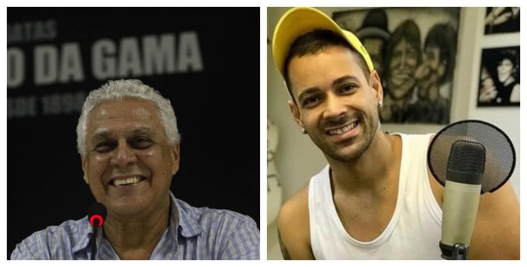 Respectivamente, Roberto Dinamite e Juninho Siston, vocalista do grupo Imaginasamba