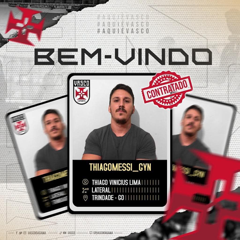 Thiago Vinícius, novo reforço do Vasco na modalidade E-Sports
