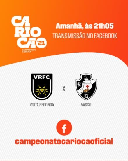 Volta Redonda x Vasco será transmitido no Facebook do Carioca