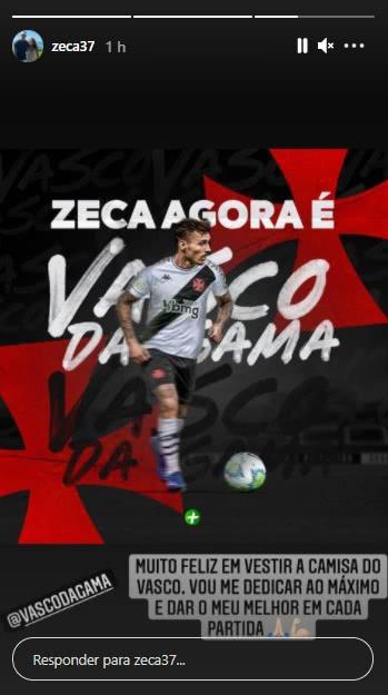 No Instagram, Zeca celebra chegada ao Vasco