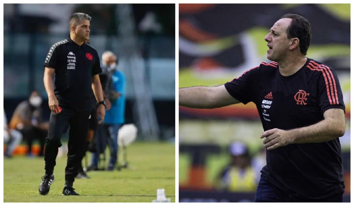 Respectivamente, Marcelo Cabo, técnico do Vasco, e Rogério Ceni, treinador do Flamengo