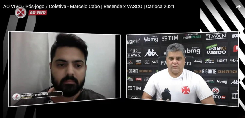 Raphael Fernandes e Marcelo Cabo em coletiva na Vasco TV