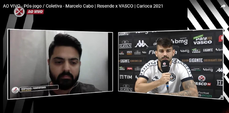 Raphael Fernandes e Ricardo Graça em entrevista coletiva na Vasco TV