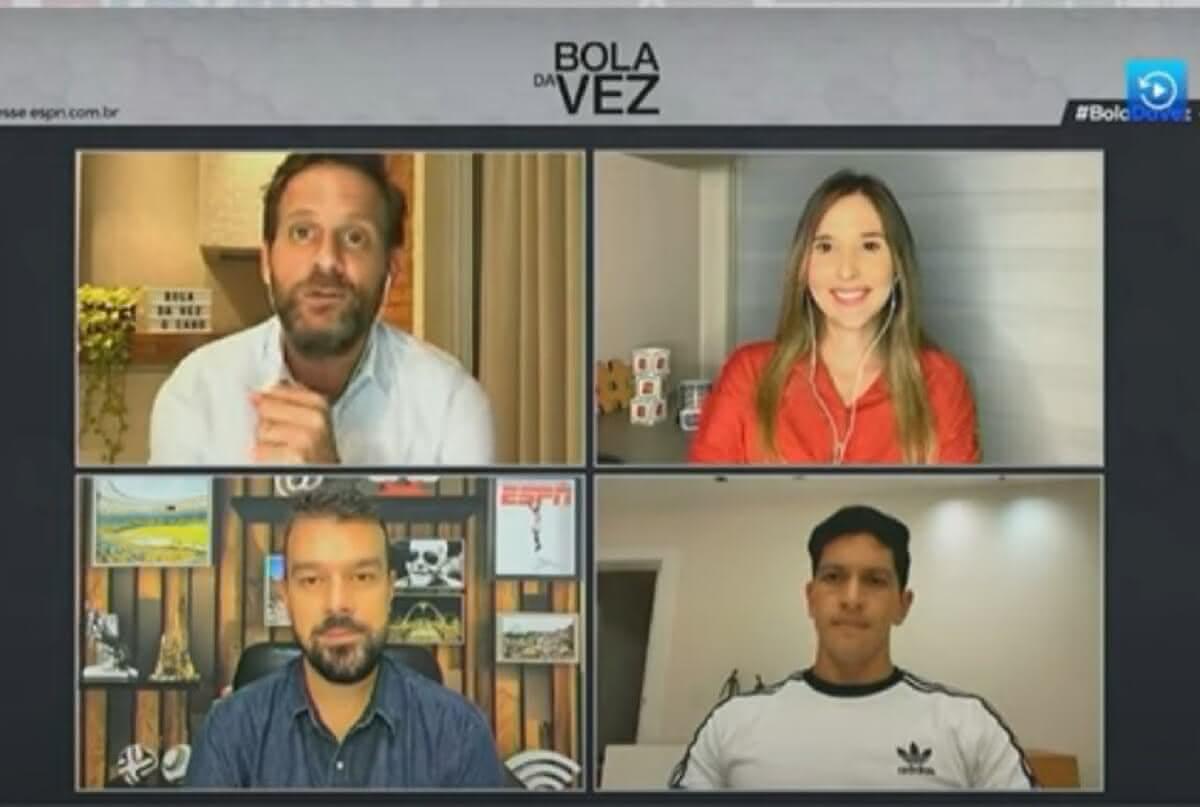 Germán Cano sendo entrevistado no programa Bola da Vez, da ESPN Brasil