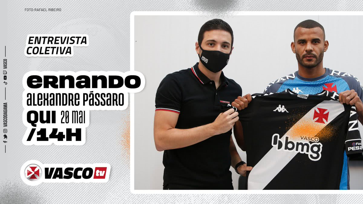 Ernando e Pássaro participam de entrevista coletiva na Vasco TV