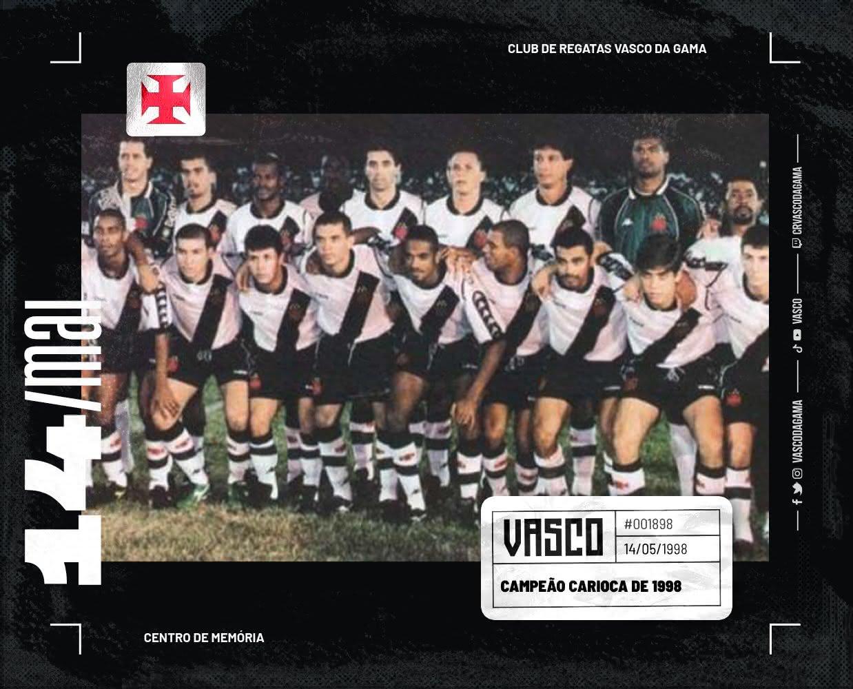 Vasco venceu o Carioca de 98 de forma invicta no centenário