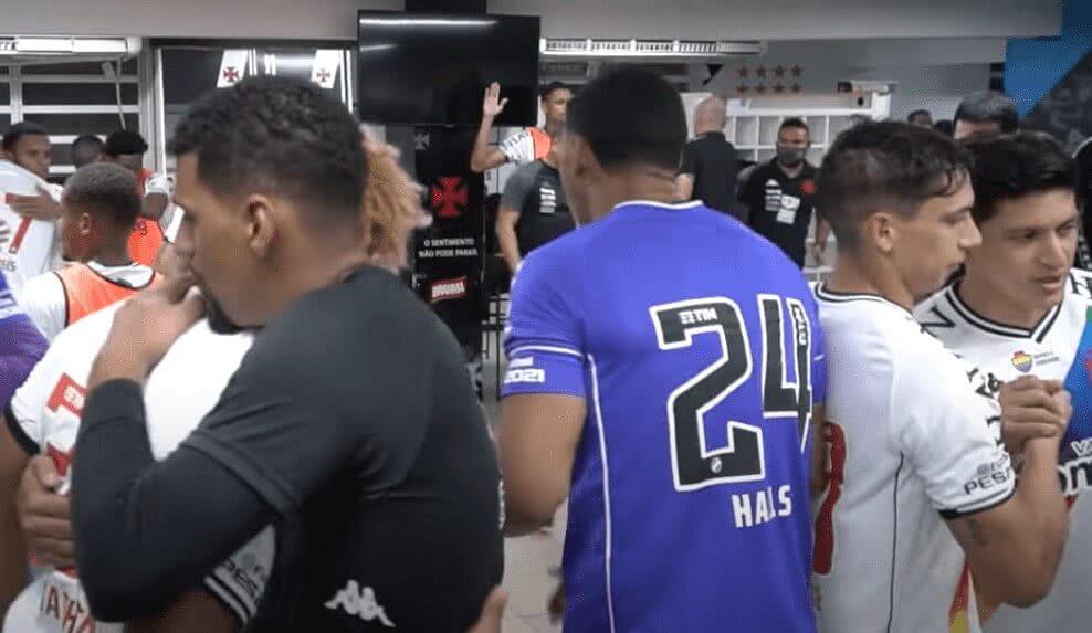 Vestiário do Vasco na vitória por 2x1 sobre o Brusque em 27 de junho de 2021