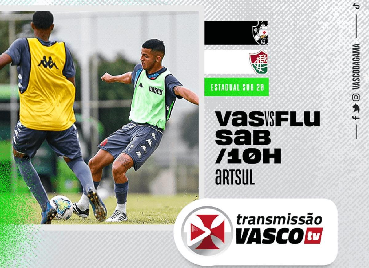 Flyer de divulgação de Vasco x Fluminense pelo Carioca Sub-20 2021
