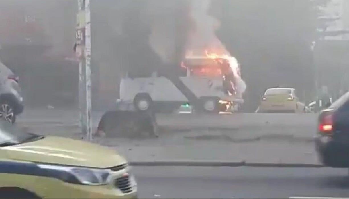 Kombi do Vasco pegou fogo na última terça-feira