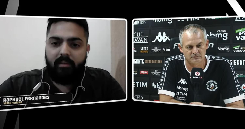 Repórter do Vasco Notícias Raphael Fernandes e o técnico Lisca