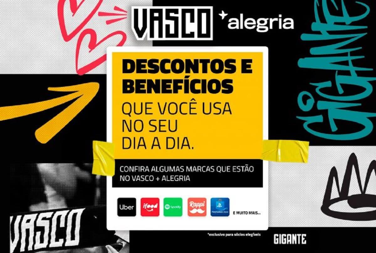 Flyer de divulgação da plataforma Vasco +Alegria