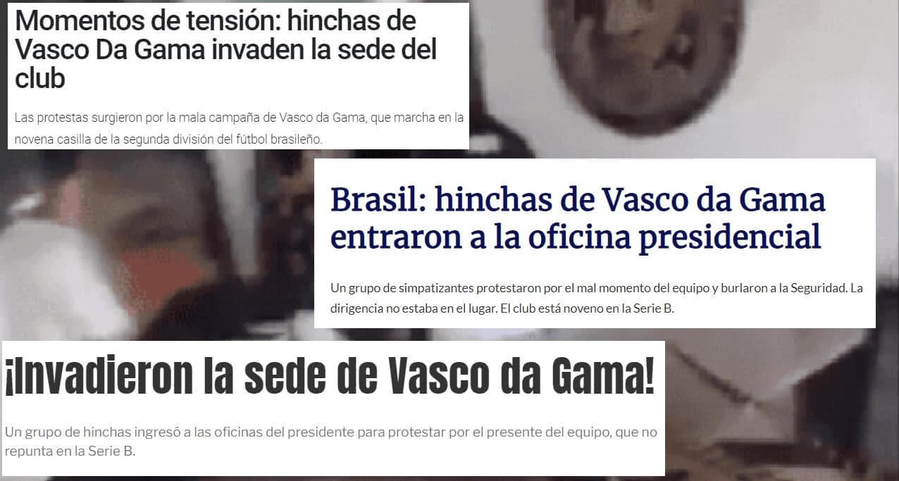 Imprensa de fora destacou a invasão à sala da presidência do Vasco